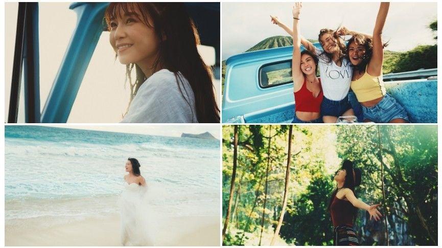 AAA宇野実彩子、白い水着姿でハワイのビーチで大はしゃぎ【画像あり】の画像001
