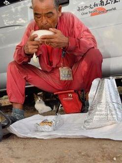 神ボランティア・尾畠春夫さんに密着「猫との朝食バトル」衝撃写真