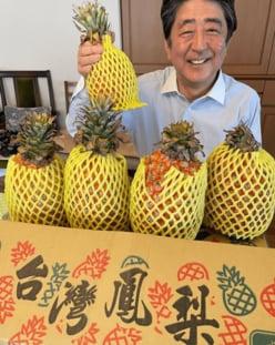 """安倍晋三前首相、""""破顔一笑""""近影公開「パイナップルに負けん」「さすが上級国民」賛否!"""